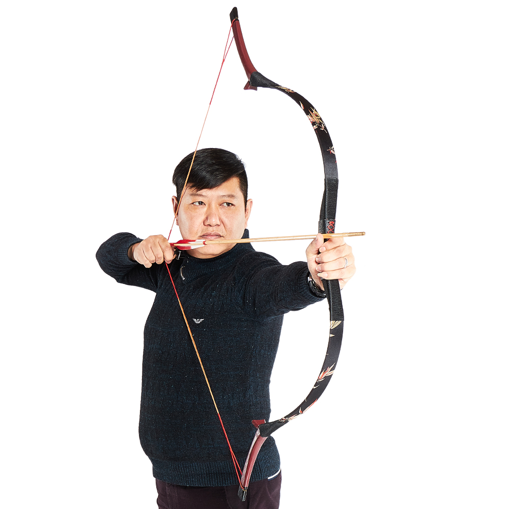 Huntingdoor Traditional Bow Hunting Shooting Longbow For Outdoor Hunt With 3D Embroidery Interior Classical Decoration