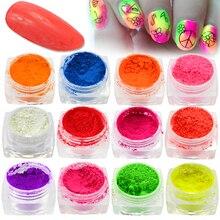 Nouveau 1 bouteille couleur vive effet néon brillant Nail Art paillettes poudre bricolage décoration poussière Gel manucure Pigment BEYE01 13