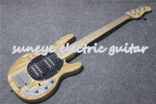 Hot Sale Natural Wood Electric Bass Guitar 5 String Music Man Ray Style Ash Custom Kit