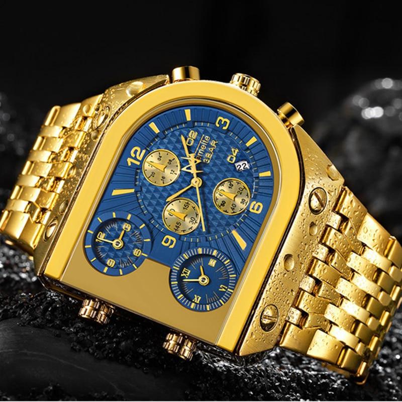 Top Brand TEMEITE Watch Men Big Dial 3 Time Zone Military Watches Waterproof Luxury Gold Sport Men's Watch Relogio Masculino