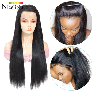 Image 2 - Nicelight Hair Straight Hair 360 Lace Frontal Wig Brazilian Remy Hair Wig Pre Plcuked Lace Closure Wig Lace Front Human Hair Wig