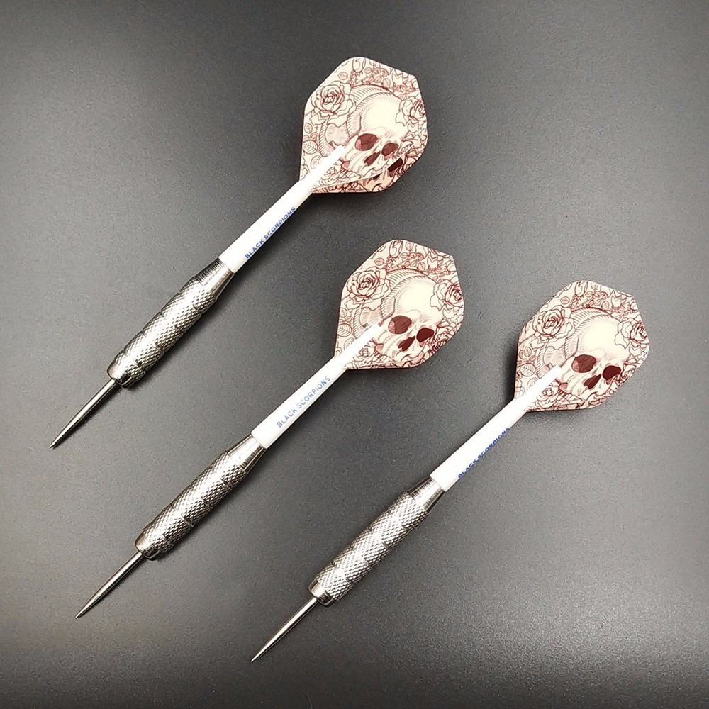 Fox Smiling 3pcs 22g Professional Steel Tip Darts With Nylon Darts Shafts With Skull Pattern