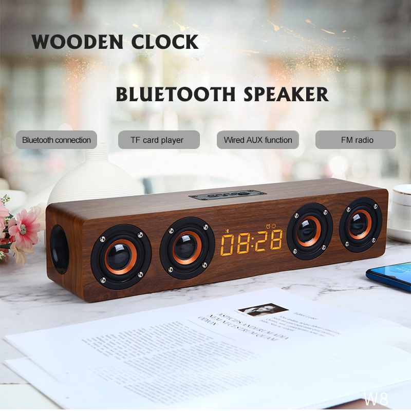 Wooden Wireless Bluetooth Speaker Portable Alarm Clock Stereo PC TV System Speaker Desktop Sound Post FM Radio Computer Speaker