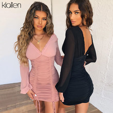 KLALIEN Mesh Long Sleeve V-Neck Solid Sexy Slim Drawstring Ruched Lady Dress 2019 Autumn Sexy Party Night Dresses Women