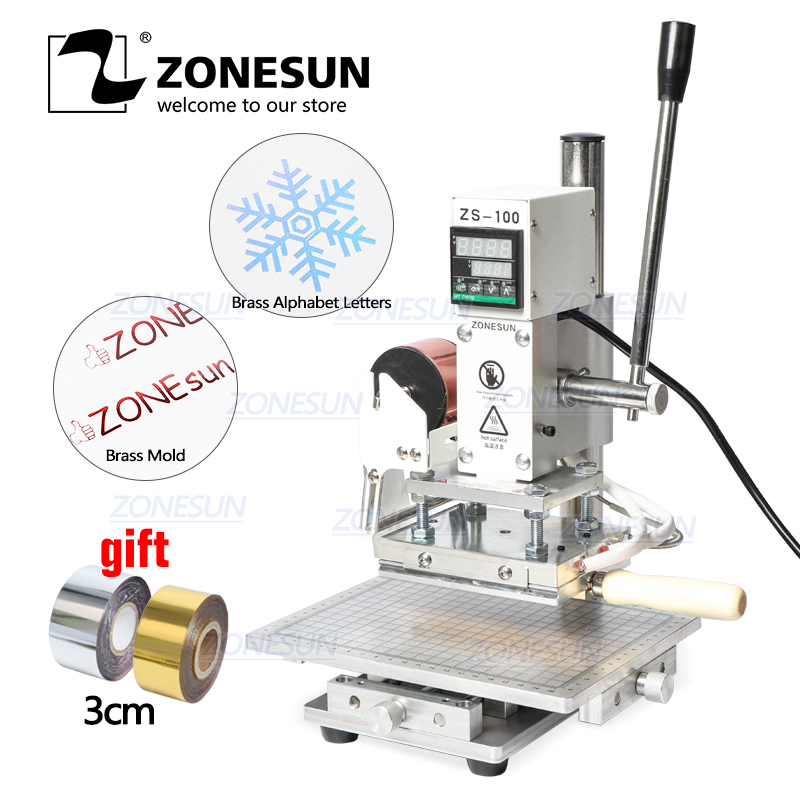 ZONESUN ZS-100C Digital Hot Foil Stamping Machine Leather Embossing Heat Pressing Machine For Wood PVC Paper Custom Logo Stamp