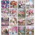 SDOYUNO 60x75cm Malerei Durch Zahlen Rahmenlose Blume Malen Nach Zahlen Auf Leinwand DIY Anzahl Malerei Landschaft Hause decor