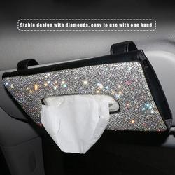 Crystal Auto Tissue Box Zonneklep Diamant Lederen Auto Tissue Papier Houder Case Zonneklep Opknoping Servet