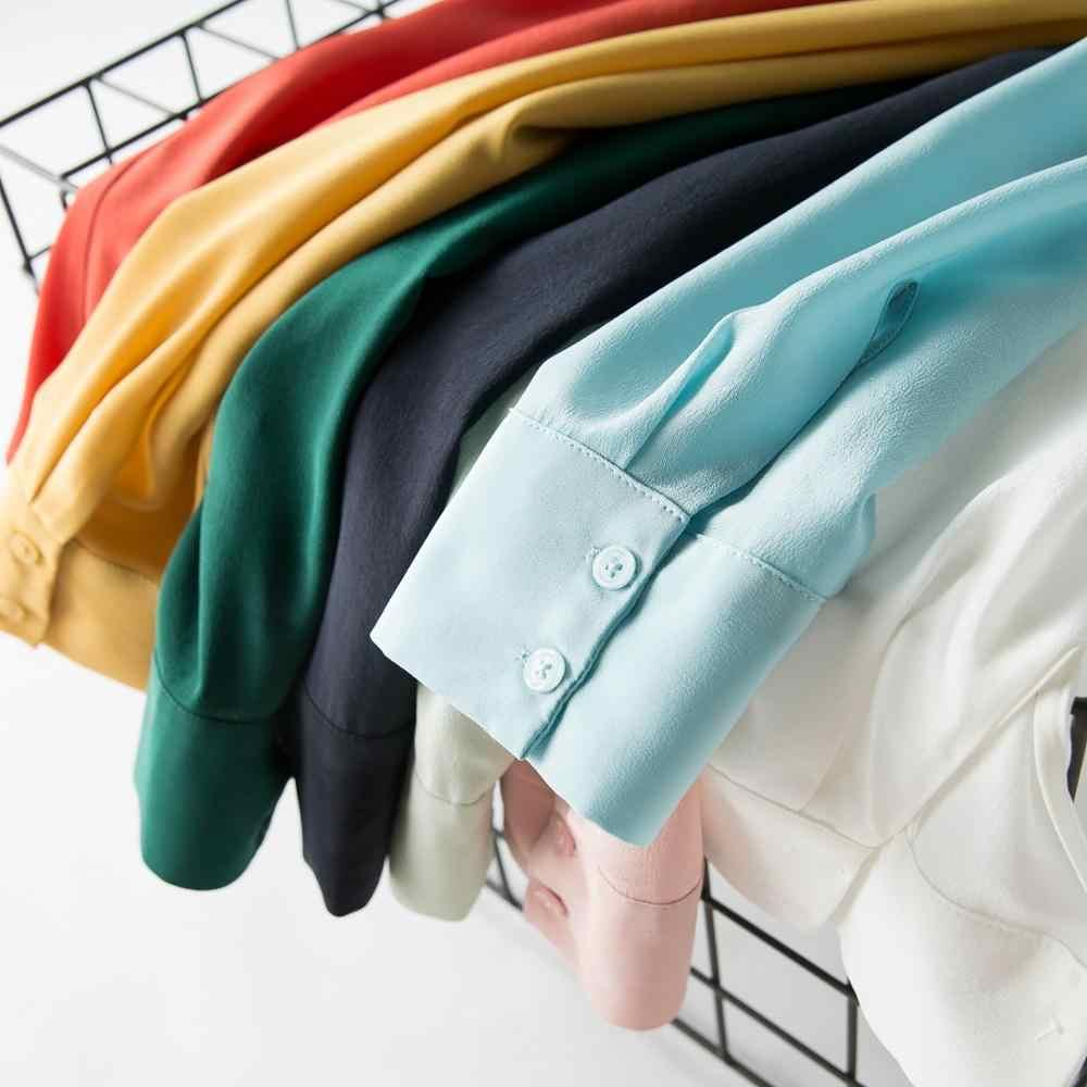 女性のシルクブラウス 100% リアルシルククレープ固体長袖ブラウス基本ボタンファッションオフィスレディシャツ 2019 白 Blusas femininas