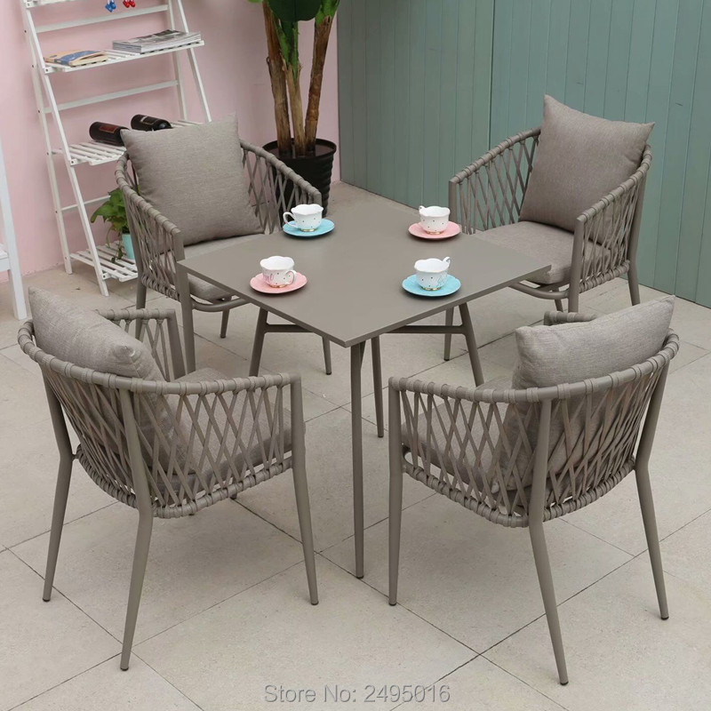 5-piece Patio Woven Rope Furniture Dining Set Balcony Poolside Chat Set Table And Chairs With Cushions