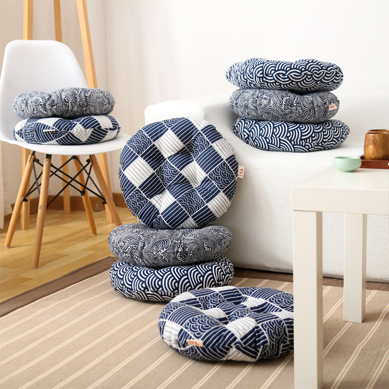 Round Pouf Tatami Cushion Pillow Floor Cushions Linen Cotton Seat Pillow Pad Throw Pillow Cushion Japanese Tatami cushion Chair