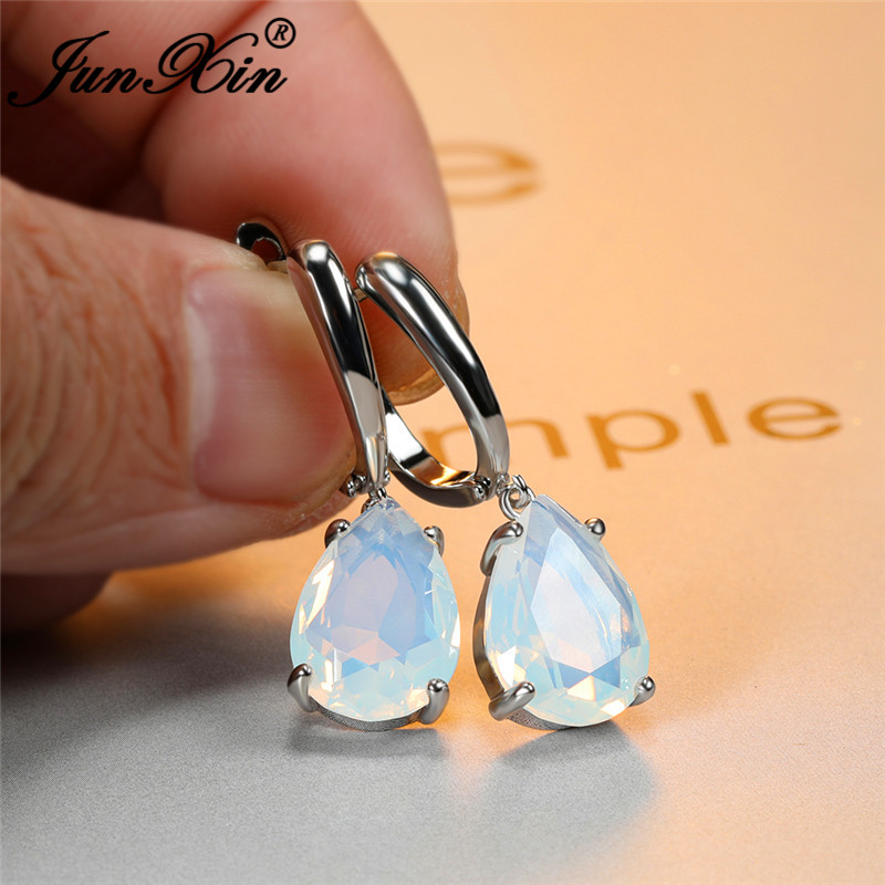 Female Wedding Water Drop Lab Moonstone Earrings For Women White Gold Rose Gold White Stone Hoop Earrings Vintage Party Jewelry