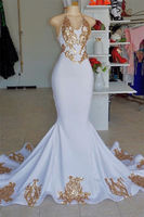 Gold Appliques Mermaid Wedding Dress Halter Elegant White Bridal Gown for wedding Sweep Train Sexy sleeveless Robe de mariee