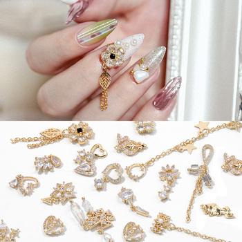 2 sztuk 3D Metal cyrkon paznokci biżuteria artystyczna japońskie ozdoby do paznokci Top wysokiej jakości cyrkonia kryształ Manicure cyrkon diament Charms tanie i dobre opinie HNUIX CN (pochodzenie) 130A Rhinestone i dekoracje