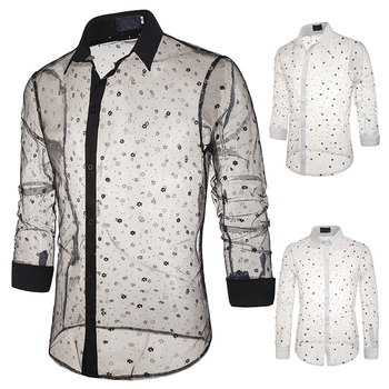 Jazz Costumes Men Sexy Transparent Lace Jersey Men'S Perspective Shirt DJ Rave Clothes Male Singer Nightclub Stage Wear DN5062