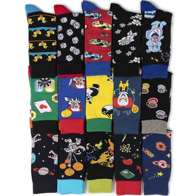 1 Pair Male Cotton Socks Colored Art Socks Multi Pattern Long Designer StreetWear Happy Funny Skateboard Socks Men's Dress Sock