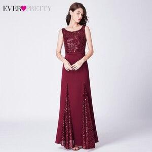 Image 5 - Sparkle Evening Dresses Long Ever Pretty EP07453BD A Line V Neck Ruched Elegant Burgundy Evening Gowns Abendkleider Lang 2020