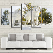 Модульный домашний декор hd печать картина 5 панелей Белый Волк
