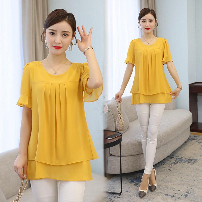 2021 Summer obesity Mid-length Chiffon Blouse Plus Size 5XL Women Short sleeve Beautiful Self-cultivati Shirt blouse Show thin 1