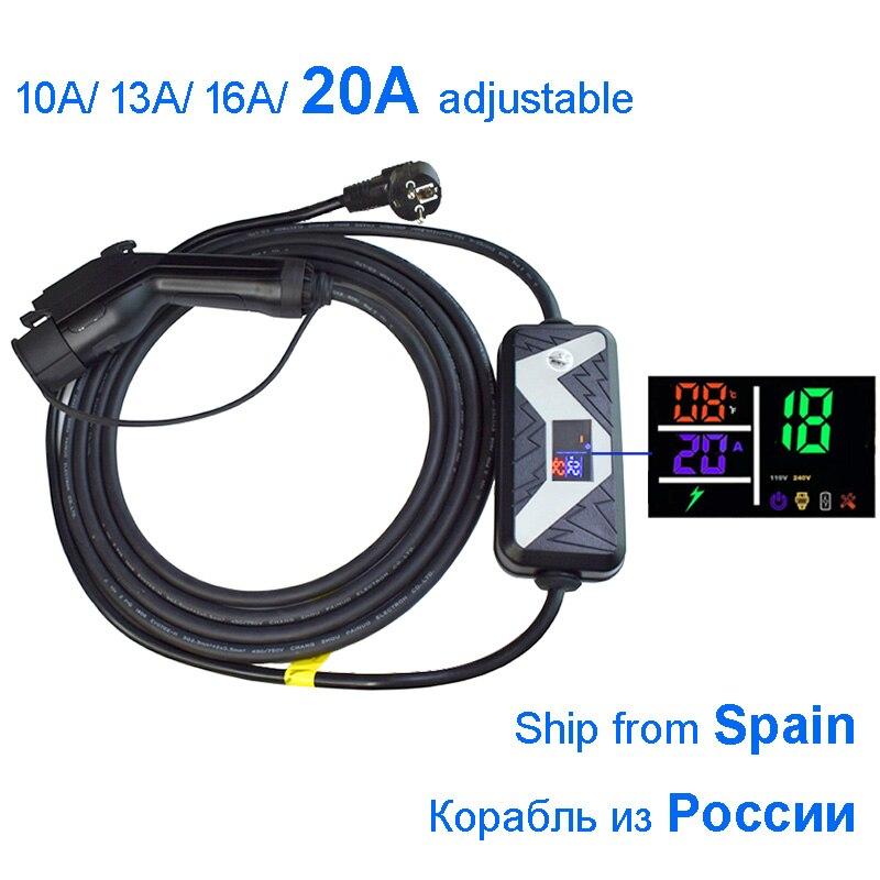 SAE J1772 портативный EV быстрое зарядное устройство 10A 13A 16A 20A домашний электрический автомобиль зарядная станция Тип 1 для ford для nissan