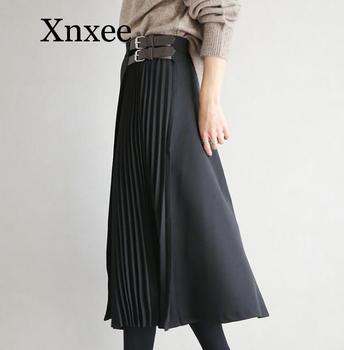 office lady belt winter  pleated Women Long  Skirts Cotton Bandage Jupe Elegant Faldas Largas Mujer Long Pleated Chiffon Skirt box pleated chiffon skirt
