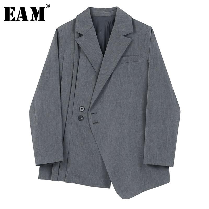 [EAM]  Women Gray Asymmetrical Pleated Stitch Blazer New Lapel Long Sleeve Loose Fit  Jacket Fashion Spring Autumn 2020 1S155