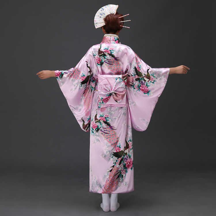 Sıcak Satış Japon Kadınlar Orijinal Yukata Elbise Geleneksel Kimono Obi Performans Dans Kostümleri Bir Boyut