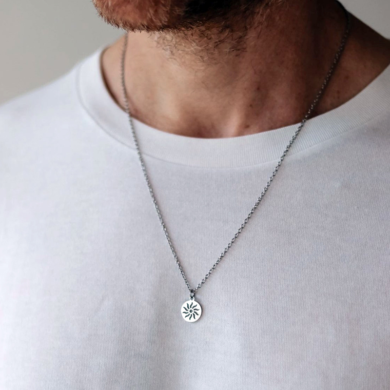 men necklace women chain stainless steel Necklace Women Men Simple Long Chain sun pendant Necklace Statement Couples jewelry