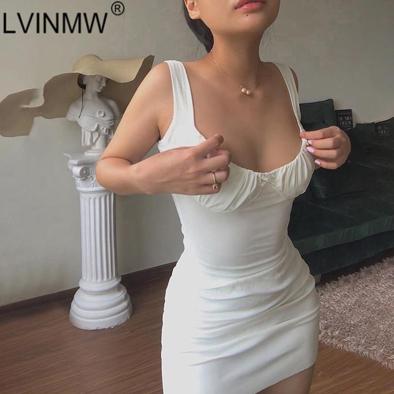 LVINMW Sexy Skinny Bralette With Bow Low Cut Slim Dress 2020 Women Summer Fashion Sleeveless Backless Dress Female Party Club