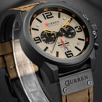 CURREN Luxury Military Waterproof Leather Sport Quartz Watch 2