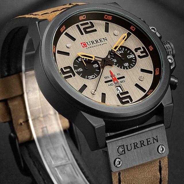 CURREN Luxury Military Waterproof Leather Sport Quartz Watch 2