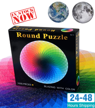In stock 1000 pcs/set Colorful Rainbow Round Geometrical Photopuzzle Adult Kids DIY Educational Toy Jigsaw Puzzle Paper(China)