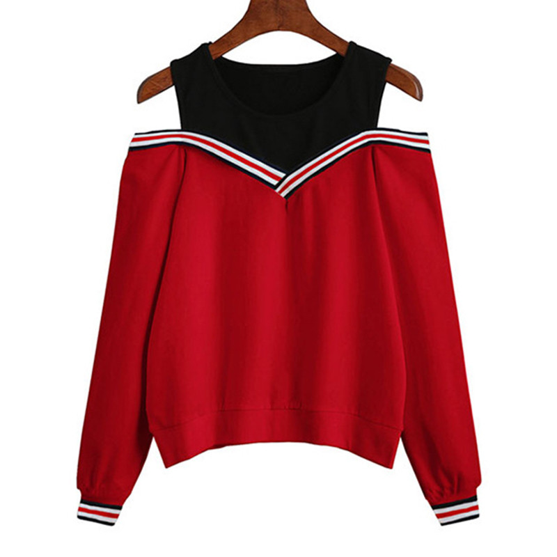 2019 Women Off Shoulder Leisure Pullover Hoodies Casual Autumn Long Sleeve Sweatshirt Jumper Tops Outwear Sudaderas Mujer