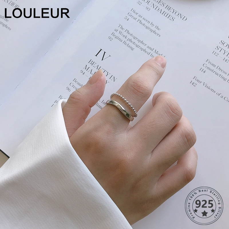 LouLeur Real 925 Silver Sterling Irregular Rings Minimalist Double Layer Bead Chain Open Rings For Women Fashion Jewelry Gifts