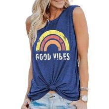 2020 женский жилет с радужным принтом надписью good vibes футболка