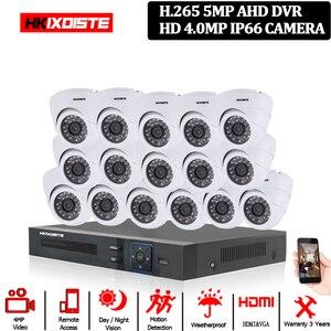 Image 1 - 홈 보안 CCTV 카메라 시스템 5MP AHD DVR 시스템 키트 + 16CH led 40M IR 밤 비전 룸 금속 IP66 돔 4MP 카메라 10*10*10cm