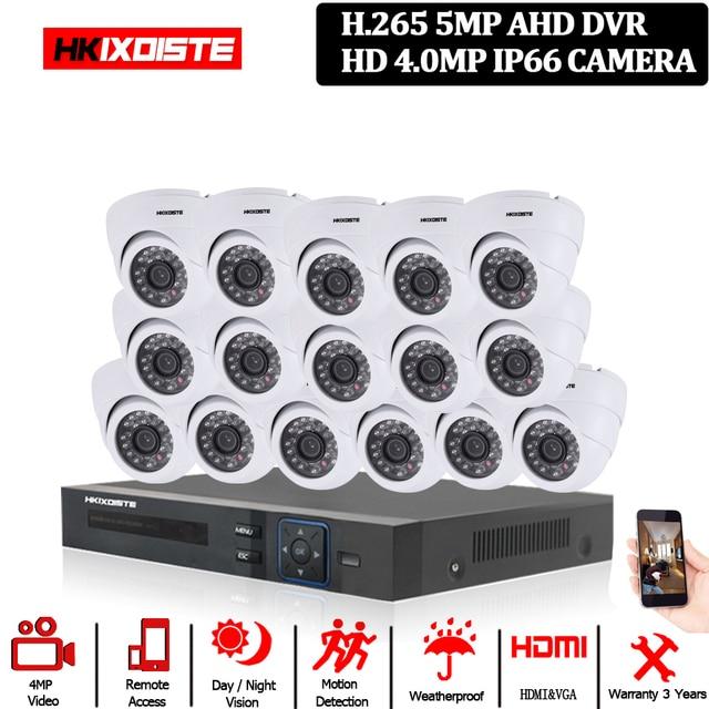 홈 보안 CCTV 카메라 시스템 5MP AHD DVR 시스템 키트 + 16CH led 40M IR 밤 비전 룸 금속 IP66 돔 4MP 카메라 10*10*10cm