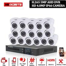 Home Security CCTV Kamera System 5MP AHD DVR System Kit + 16CH Leds 40M IR Nachtsicht Zimmer Metall IP66 Dome 4MP Kamera 10*10*10cm