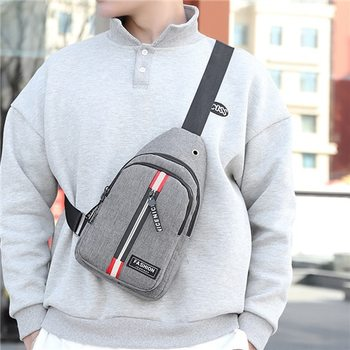 Puimentiua Men's Small Chest Sling Bag Casual Canvas Crossbody Bag Travel Hiking Messenger Fashion Shoulder Bag Men Waist Bag image