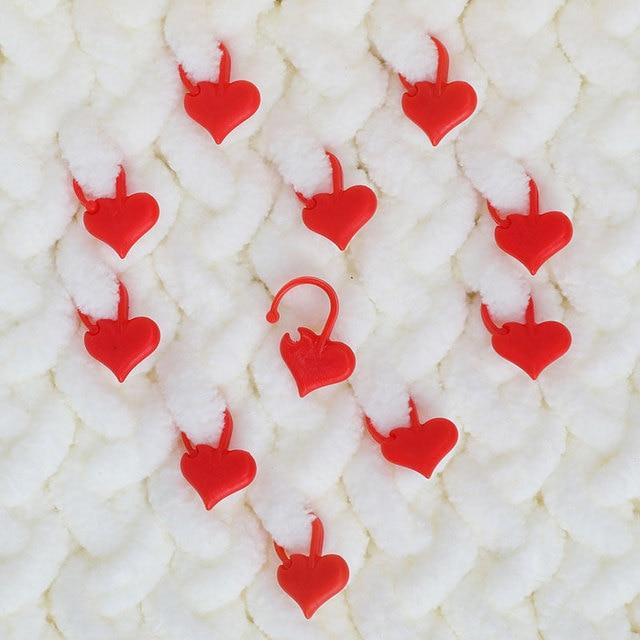 50pcs/box Heart Shaped Locking Stitch Markers DIY Needle Arts Craft Plastic Knitting Crochet Stitch Holders Sewing Accessories