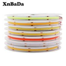Kepadatan Tinggi COB/FOB Led Flexible Strip Lampu, 10 W/M RA80 Putih/Alam Putih/Warm IP30 DC12/24V(China)