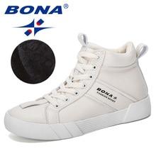 BONA 2019 ออกแบบใหม่รองเท้าผู้หญิงฤดูหนาวรองเท้าผู้หญิงรองเท้าผ้าใบLace Upสุภาพสตรีรองเท้าผู้หญิงหิมะสั้นรองเท้า