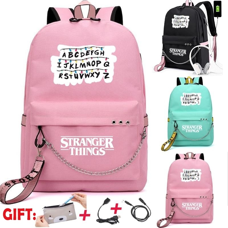 Stranger Things Canvas Backpack USB Charge Women Student Backpack Fashion Letters Print School Bag Teenager Girls Ribbons Bag