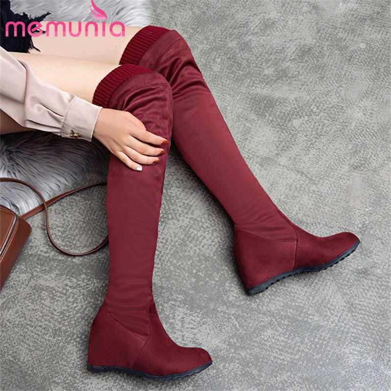 MEMUNIA 2020 yeni varış diz çizmeler üzerinde kadın akın yuvarlak ayak kayma sonbahar kış Streç çizmeler kadın takozlar ayakkabı