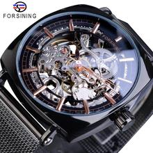 Forsining Brand Mens Mechanical Watches Square Retro Automatic Skeleton Ultra Thin Black Business Mesh Steel Belts Clock Relogio
