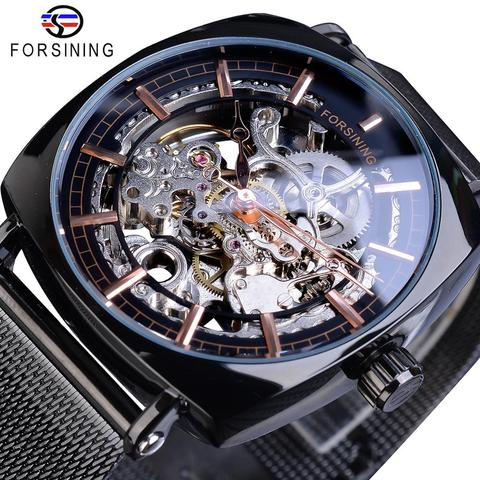 Cintos de Aço Forsining Marca Homens Relógios Mecânicos Quadrado Retro Esqueleto Automático Ultra Fino Preto Negócios Malha Relógio