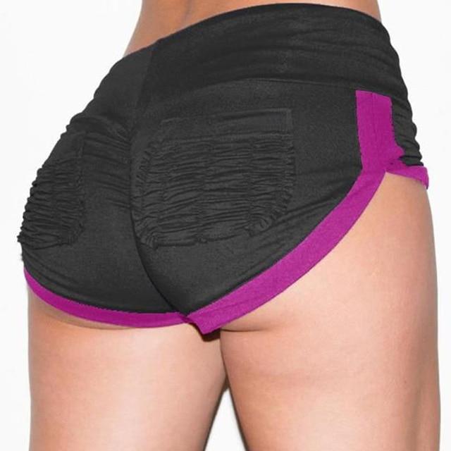 2021 Fashion Summer Women Shorts Fold Lines Hight Waist Patchwork Elastis Waist Waistband Skinny Casual Short Pants With Pockets 6