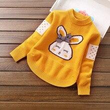 봄 가을 소녀 스웨터 따뜻한 의상 만화 토끼 인쇄 된 어린이 풀오버 스웨터 아기 소녀 청소년 어린이 옷