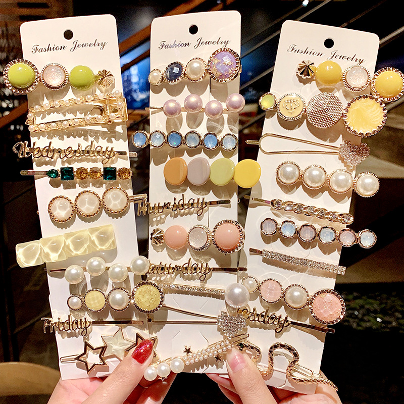 3/5PCS/Set Ins New Women Girls Elegant Pearls Geometric Hairpins Sweet Headband Hair Clips Barrettes Fashion Hair Accessories