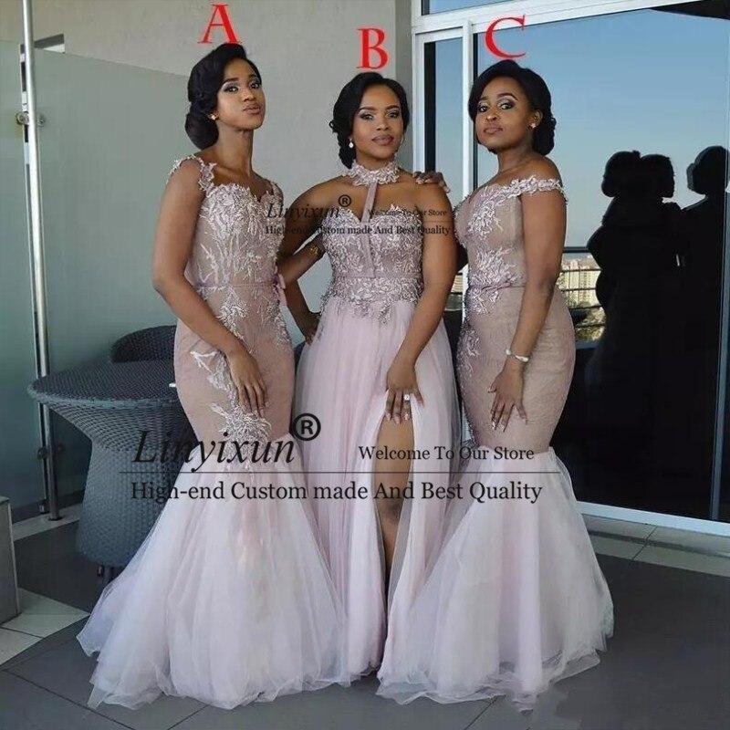 2019 afrikanische Brautjungfer Kleider Lange Mixed Stil Appliques Off Schulter Meerjungfrau Prom Kleid Split Side Maid Of Honor Kleider