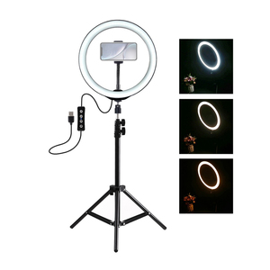 Image 2 - PULUZ Photography LED Selfie Ring Light 10inch Dimmable Camera Phone Ring Lamp With Stand Tripods For Makeup Video Live Studio